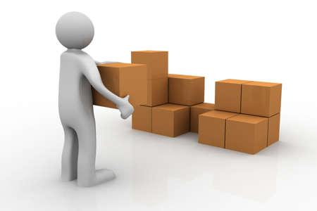 stacking: 3d man stacking some cardboard boxes