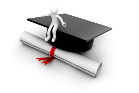 graduation gown:  3D man graduation portrait isolated over a white background