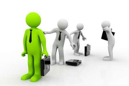 alienation: many 3D men with suitcase standing in line  unique man