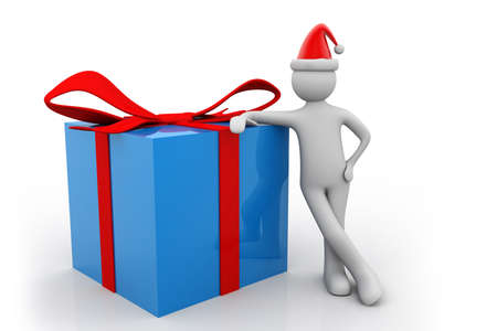 man presenting: 3d man presenting gift box over white background
