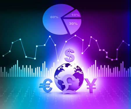 stock market return: world currencies on business background