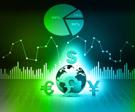 overturn: world currencies on business background