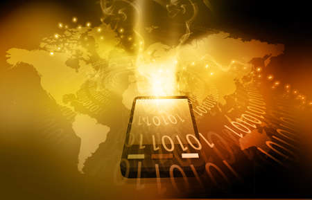 e systems: World Modern communication technology illustration with mobile phone and high tech background Stock Photo