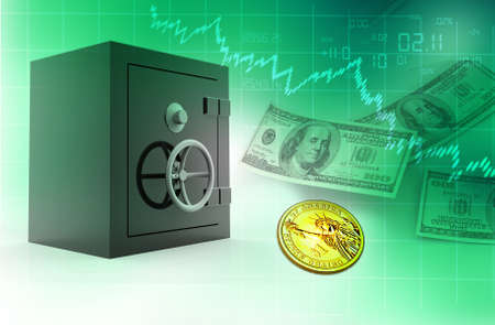 Open safe with dollars abstract background photo