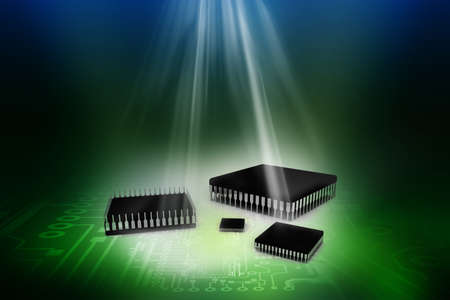 Computer processor over abstract digital background Stock Photo - 20884397