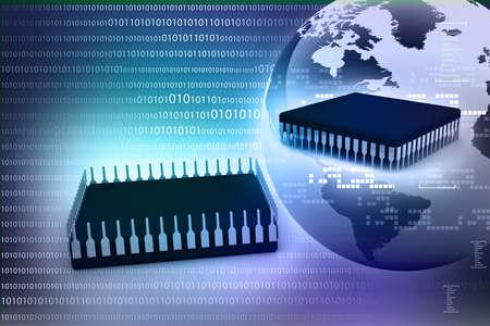 decode: Earth globe on a computer processor  Digital world
