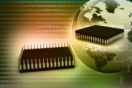 Earth globe on a computer processor  Digital world