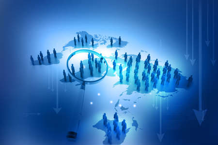 computers network: Find people on social networks  World population Stock Photo