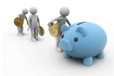 retire: People Putting money into the piggy bank   Stock Photo