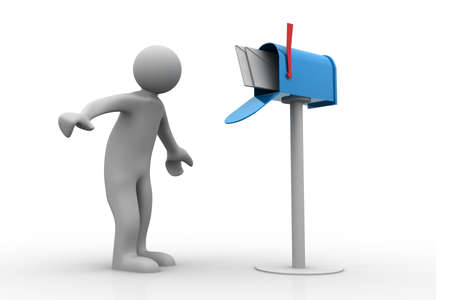 courier service: 3d person with a mailbox Stock Photo