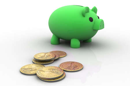 Business concept  piggy bank and dollar isolated on white background   photo