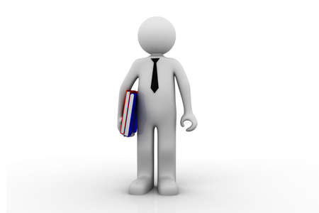 3d render of man holding files   photo