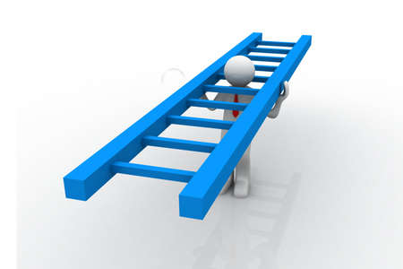 climbing ladder: 3d man carrying a ladder