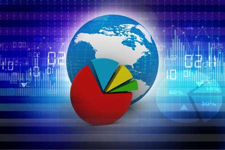 Global financial charts and graphs illustration  illustration