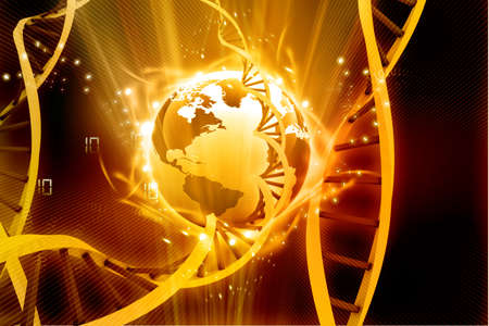 origin: 3d illustration  of glowing earth with  DNA   Stock Photo