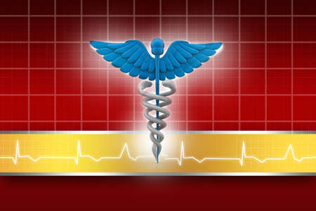 sceptre: 3d medical logo on a abstract  background   Stock Photo