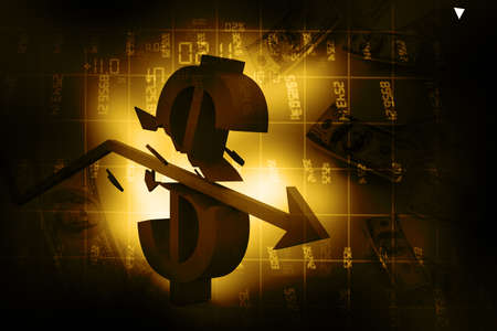 broken down: 3d arrow smashing dollar sign  Financial crash  Abstract background   Stock Photo