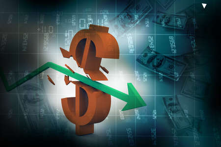 3d arrow smashing dollar sign  Financial crash  Abstract background