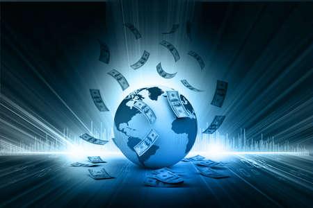 Blue Earth and falling dollar banknotes  Dollar rain   photo
