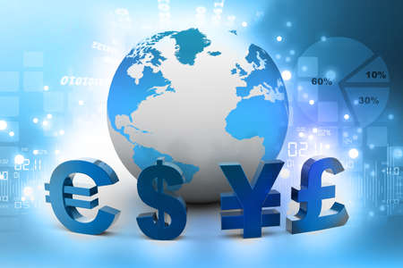 us currency: Currency of the World on abstract background   Stock Photo