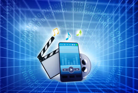 Mobile phone , music symbols, and clapperboard with reels of film  photo