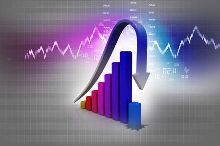 Business Graph decline on abstract background