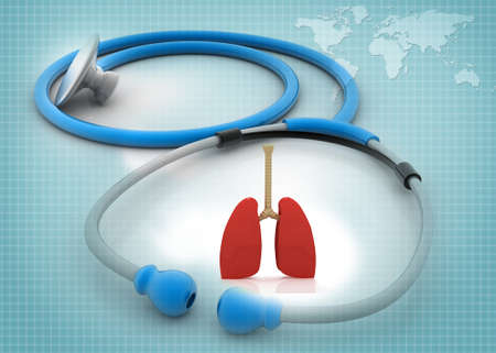 stethescope: stethoscope with  human lungs