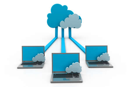 three dimensional accessibility: Cloud computing Stock Photo