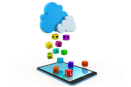 three dimensional accessibility: app rain from cloud to tablet Stock Photo