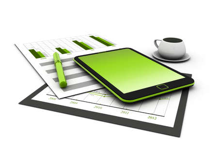 Business stocks on tablet with coffee photo