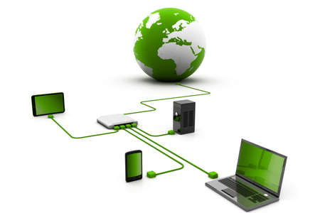 disco duro: red local del router en línea Foto de archivo