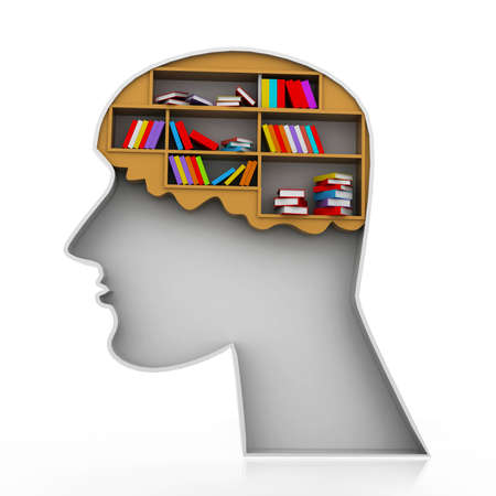 Brain bookshelf Stock Photo