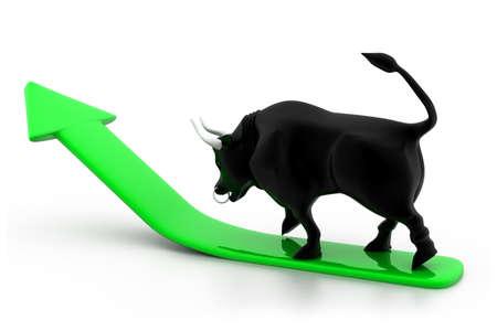 bull market: Growing arrow with bull
