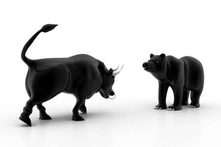 stock market crash: Bull and bear market Stock Photo