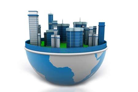 hemisphere: earth and buildings