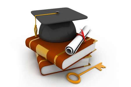 alumna: Graduation concept with cap and diploma