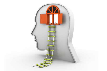 Human head with open door and ladder