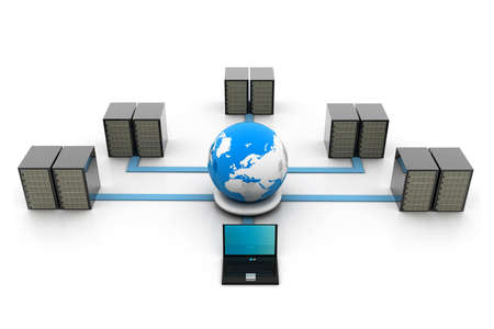 network server: Globe and network server Stock Photo