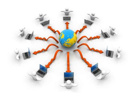 e recruitment: Global Computer network Stock Photo