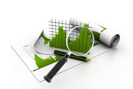 Business chart and magnifying glass Stock Photo - 23183010
