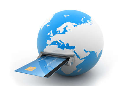 secure payment: Online Credit Card Purchase Stock Photo