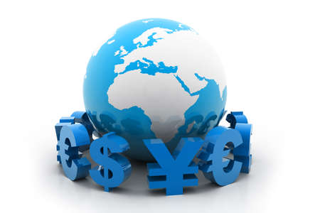 Globe with currency symbols photo