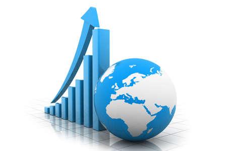 three dimensional shape: Business chart Stock Photo