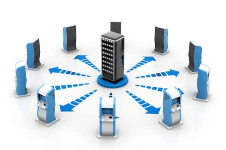 tecnologia informacion: Servidor y la red ATM Foto de archivo
