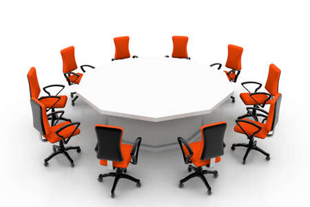 boardroom meeting: conference table and chairs