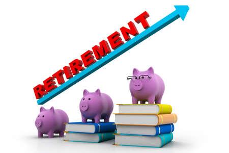 retirement savings: piggy banks with retirement savings message Stock Photo