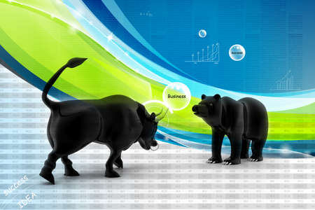 bear market: Bull and bear market Stock Photo