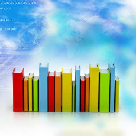 Digital illustration of Colorful books