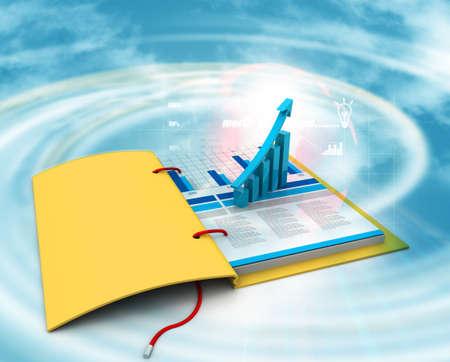 Digital illustration of Business graph in chart Stok Fotoğraf