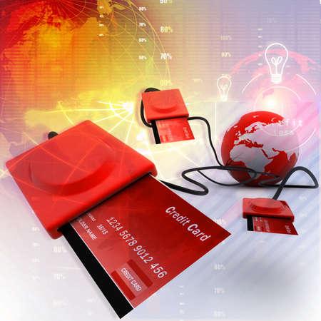 e business: Digital illustration of Online Credit Card Purchase